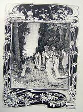 ILLUSTRATIONS ART DECO THE SETTING SUN WALTER CRANE RWS (ATTRIB) INK C1900