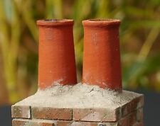 2 1:12th REAL BRICK CHERRY CHIMNEY POTS