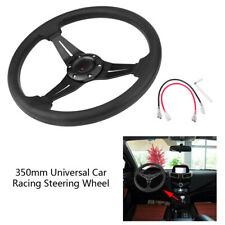 350mm Deep Dish PU Leather 6Bolt JDM Sport Racing Steering Wheel w/Horn Button