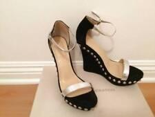 6628af4d2849 9 Liliana Mallika Black Suede Wedge Sandal Metallic Silver Straps Studded  Heel