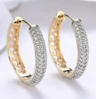 Elegant 18K Gold Plated Huggie Hoops With Swarovski Crystals 24mm ITALY