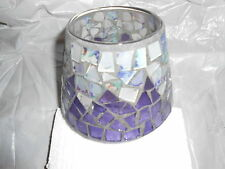 Home Interior Purple Mosaic Glass Candle Shade Topper