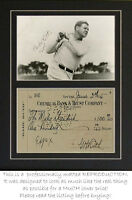 Babe Ruth signed check and photograph (autograph) PROFESSIONALLY MATTED