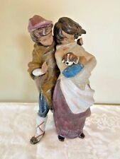 Lladro 1279 Gres Facing The Wind Figurine Girl Boy Dog Vintage