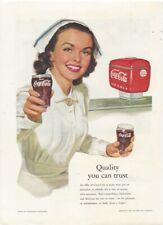 Print ad:  Coca Cola Coke ~ NURSE ~ 1952 ~ Quality you can Trust full color