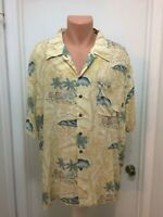 Pacific Coast Highway Hawaiian Shirt  Tiki Huts Palms Button  XL Yellow Rayon