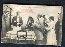 Posted c1908 in UK: French Studio Card: Waiter & Family Arriving for Dinner