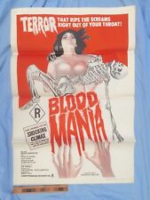 1970 BLooD MaNia ONE-SHEET GENUINE AUSTRALIAN R-RATED HORROR MOVIE POSTER NM!