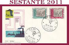ITALIA FDC ROMA C.E.C.A. COMUNITà EUROPEA CARBONE ACCIAIO 1971 ANNULLO BARI G306