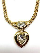 SWAROVSKI SIGNED SWAN GOLD PLATED CRYSTAL RHINESTONE HEART NECKLACE PENDANT