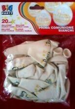 PALLONCINI 1^ COMUNIONE, confezione da 20 pz, bianchi, addobbi eventi festa