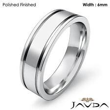 Wedding Band Women Solid 18k White Gold Flat Fit Plain Ring 6mm 8.8gm Sz 7-7.75