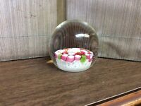 Vintage Murano italy Art Glass Paperweight Millefiori Pink Red Green
