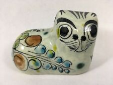 Vintage Hand Painted Mexican  Cat Figurine Kitty Cat Home Decor Kitten Signed