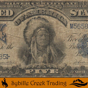 1899 $5 SILVER CERTIFICATE *INDIAN CHIEF NOTE* FREE SHIPPING   82785