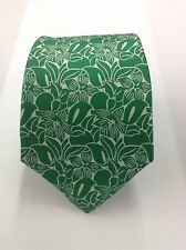 $295.00 KITON NAPOLI 7 FOLDS GREEN FLORAL PATTERNED WOVEN SILK NECK TIE