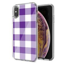 For Apple iPhone XR Purple Plaid Design Double Layer Phone Case Cover