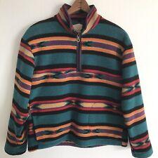 Vintage Woolrich Pullover Fleece Medium 1/4 Zip Southwest Aztec Made In Usa