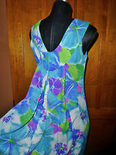 Vtg 60s Hawaiian MOD Neon Floral Print Train Polynesian Wedding Party Maxi DRESS