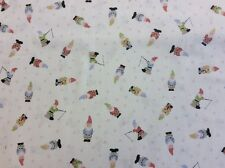 Lewis And Irene - Grandma's Garden Col:1 D#A199 Gnomes 100% Cotton By 1/4 Metre