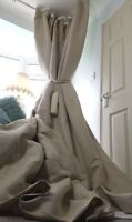 """Quality 100%Irish Linen Natural Interlined Heavy 93"""" Long 55"""" Wide Curtains"""