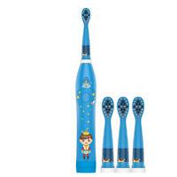 Wasserdicht Blau Kind Elektrische Zahnbürste USB Aufladung 4 Bürstenköpfen DE