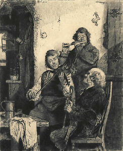 TRIO 1881 Adolphe Lalauze - Erskine Nicol - musicians bagpipes VICTORIAN ETCHING