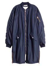 H & M Navy Bomber Coat Size  Generous M Stylish & Warm Faux Sheepskin Lining NWT