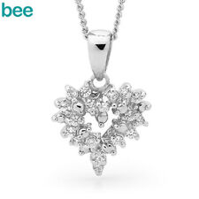 New Classic Natural Simulated?Diamond 925 Sterling Silver Hearts Pendants