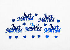 JUST MARRIED Royal Blue Wedding Confetti Table Decoration Scatter Sprinkles
