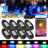8pcs RGB LED Pod Rock Light Neon LED Light Kit Bluetooth For Jeep Off Road Truck