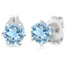0.88 Ct Round Shape Sky Blue Aquamarine Silver Plated Brass Stud Earrings