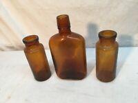 Vintage Brown Bottle snake Oil Quack Medical RX Drug apothecary LOT of 3 PC