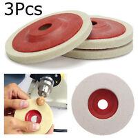 3PCS 100mm 4Inch Wool Buffing Angle Grinding Pad Wheel Polishing Disc Felt Set