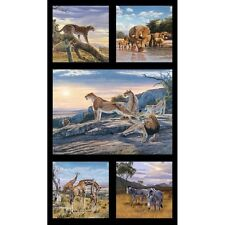 """African Animals Elizabeth's Studio 100% Cotton fabric by the panel 24"""" X 43"""""""