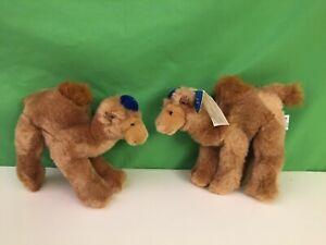 Pair of Russ Judaica Treasures, 2 Plush Stuffed Camels with Yarmulke, Menachem