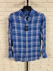 Cremieux mens LINEN blue white shirt untuck long sleeve button XL NEW $79.50 #49
