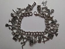 Handmade Silver HARRY POTTER Themed Bracelet With 27 Different Charms (C)