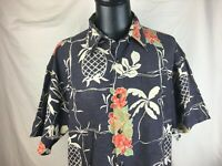 Newport Blue Island Brand Men's 2XL 18-18 1/2 Hawaiian Shirt Pineapple Hibiscus