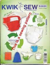 KWIK SEW PATTERN 3690 BABY XS-XL RE-USABLE NAPPIES 3 STYLES, 5 SIZES, COVER BAGS
