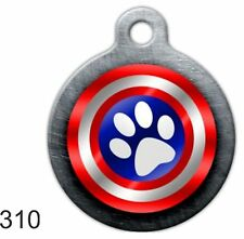 Cute Custom Personalize Pet ID tag for Dog & Cat funny unique Capt America round