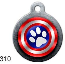 Cute Custom Personalize Pet ID tag for Dog & Cat funny unique Capt America round