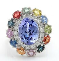 8.90 Ct Natural Tanzanite Sapphires and Diamond in 14K Solid White Gold Ring