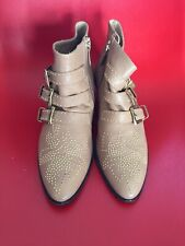 CHLOE SUSANNA ankle boots gold studs 39.5  in box cowboy western AUTHENTIC tan