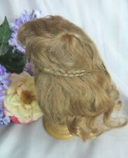 "ANTIQUE vintage HUMAN HAIR Doll WIG strawberry blonde TINY BRAIDS bangs 12""c"