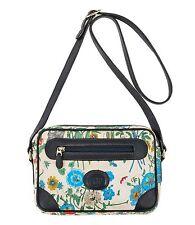 "Vtg GUCCI c.1966 ""Flora"" Floral Coated Canvas Navy Blue Leather Handbag Purse"