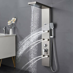 Stainless Steel Rainfall&Waterfall Shower Panel Tower System  Massage Body Jets