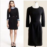 $198 J Crew black wool crepe Teddie 3/4 sleeve dress Black iconic petite 0 0P