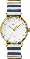 Timex TW2P91900,  Fairfield Weekender Striped Fabric Watch, Indiglo, TW2P919009J