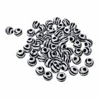 50 Gift Zebra Striped Acrylic Spacer Round Beads 12mm(black+white) D6C8
